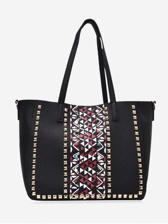 Geometrische Nieten 3 Stück Einkaufstasche Set - Schwarz