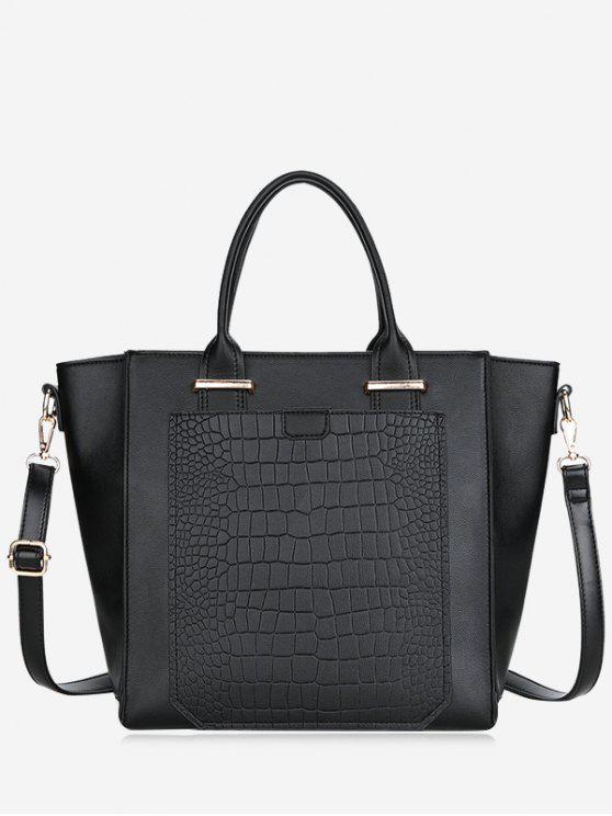 fashion PU Leather Embossing Handbag - BLACK