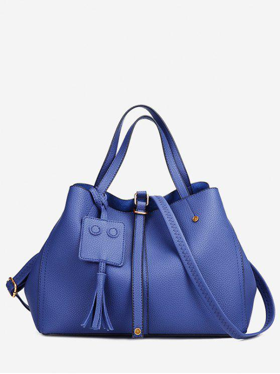 women's Buckle Strap Studs Tassel Handbag - BLUE
