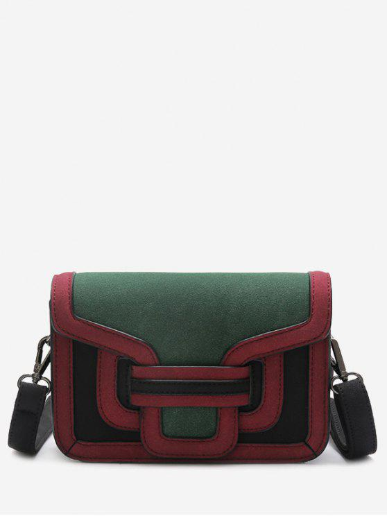 Sketching Color Blocking Crossbody Bag - Verde
