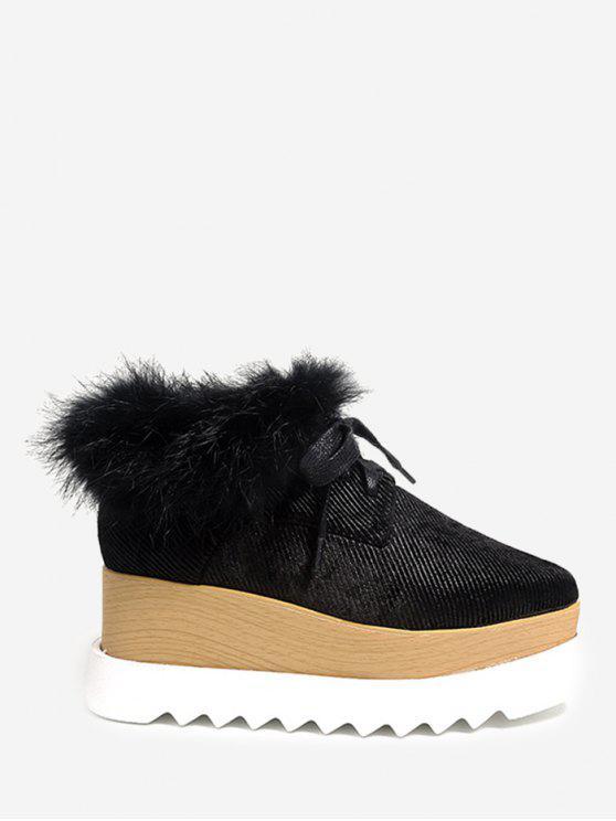 Chaussures plates à talon velouté Faux Fur Square Toe - Noir 38