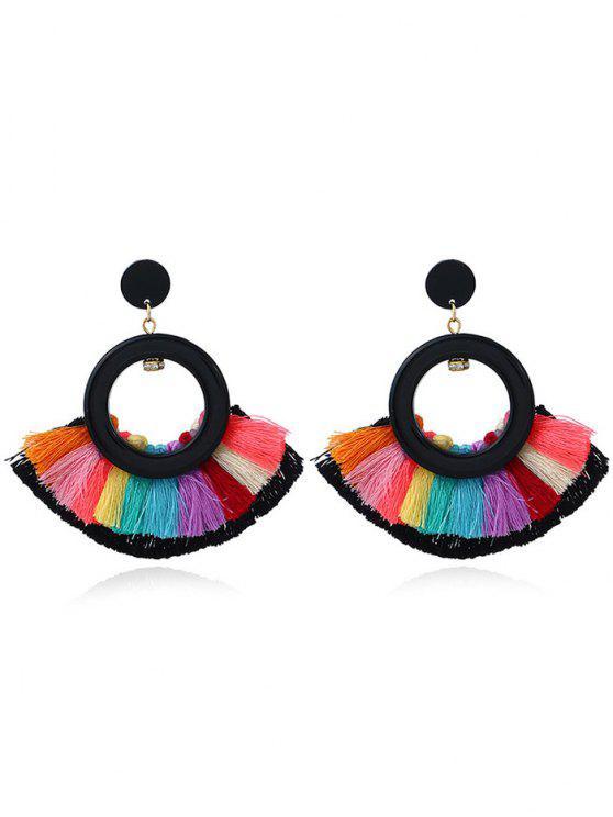 Cercle Secteur Multicolor Tassel Earrings - Noir