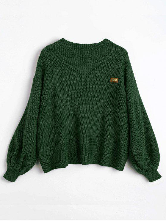 shop ZAFUL Oversized Chevron Patches Pullover Sweater - GREEN ONE SIZE