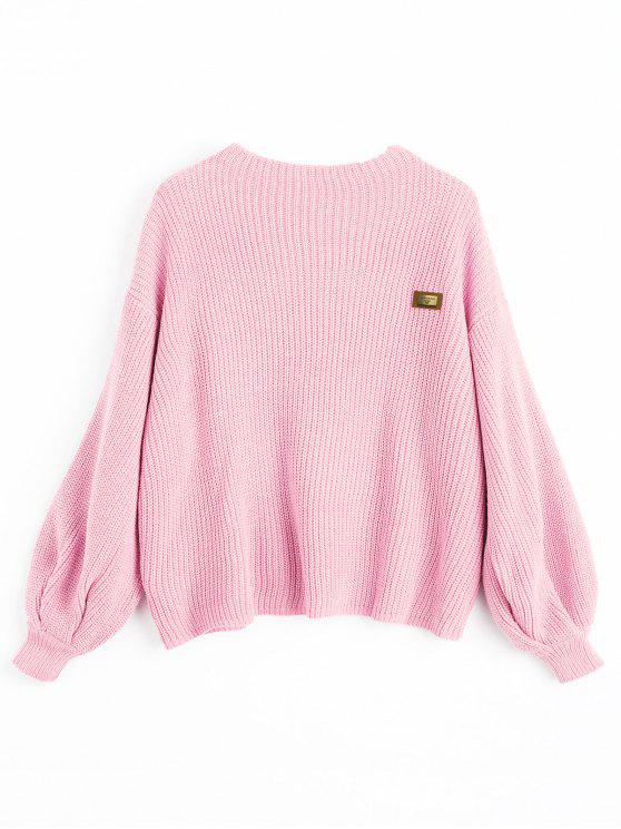 Pull Oversize à Patch - ROSE PÂLE Taille Unique