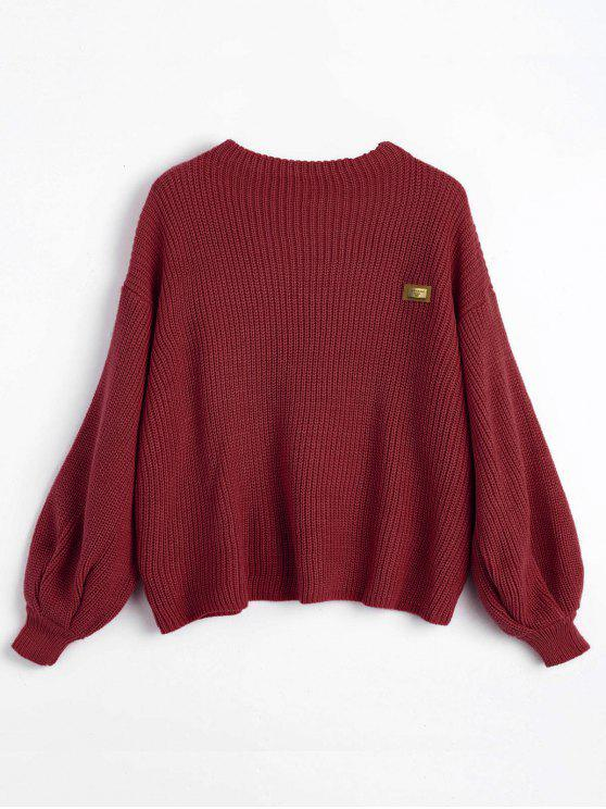 best Oversized Chevron Patches Pullover Sweater - WINE RED ONE SIZE