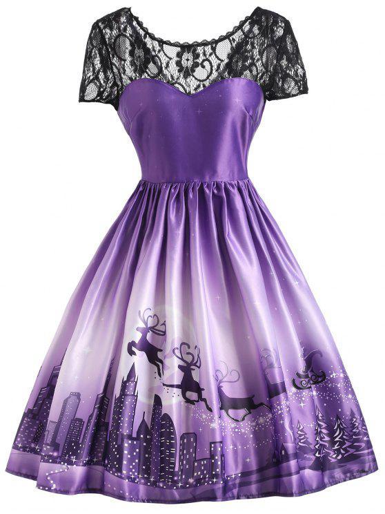 Weihnachten Elch Vintage Spitze Yoke Kleid - Lila M