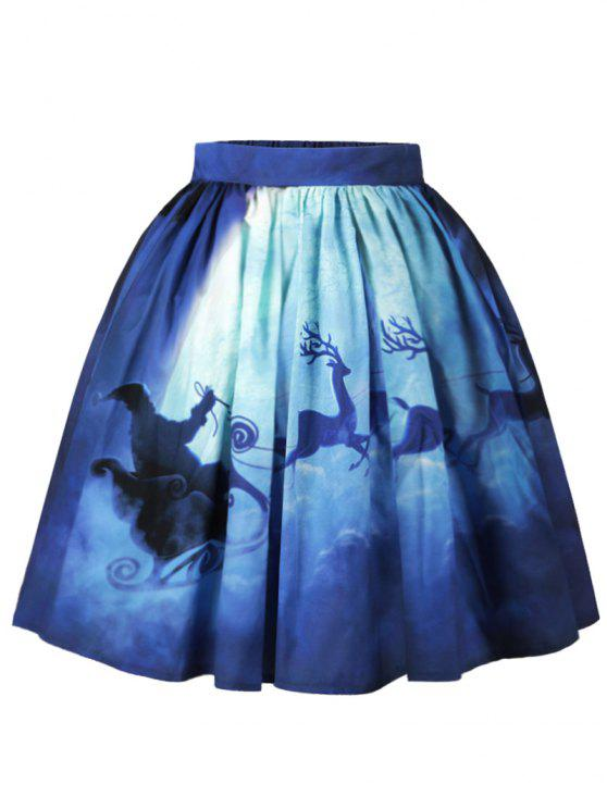 ladies Christmas Santa Claus Elk Moon Print Skirt - BLUE L