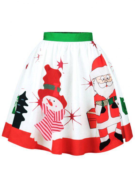 Jupe Motif Père Noël et Bonhomme de Neige - Multicolore S