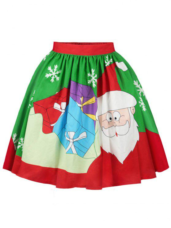 latest Christmas Santa Claus Snowflake Print Skirt - COLORMIX M