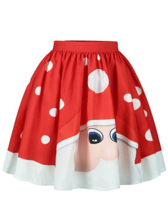 best Christmas Polka Dot Santa Claus Print Skirt - RED M