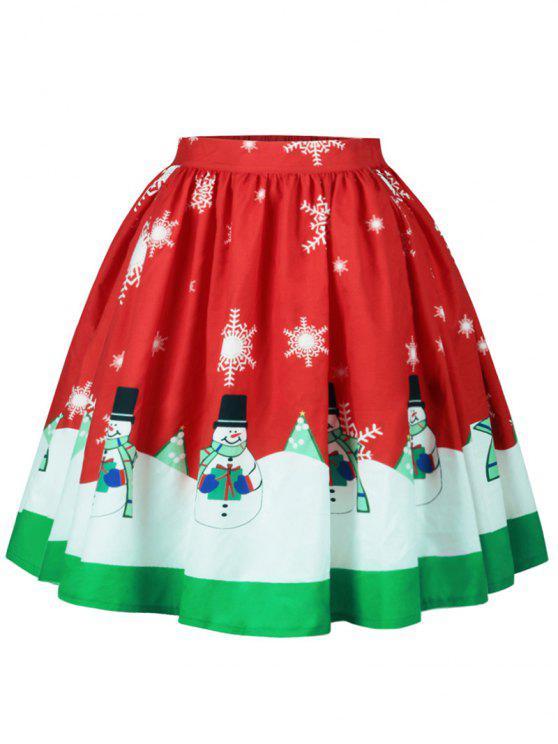 Saia Linha A de Natal com Estampa de Boneco e Floco de Neve - Cor Mistura S
