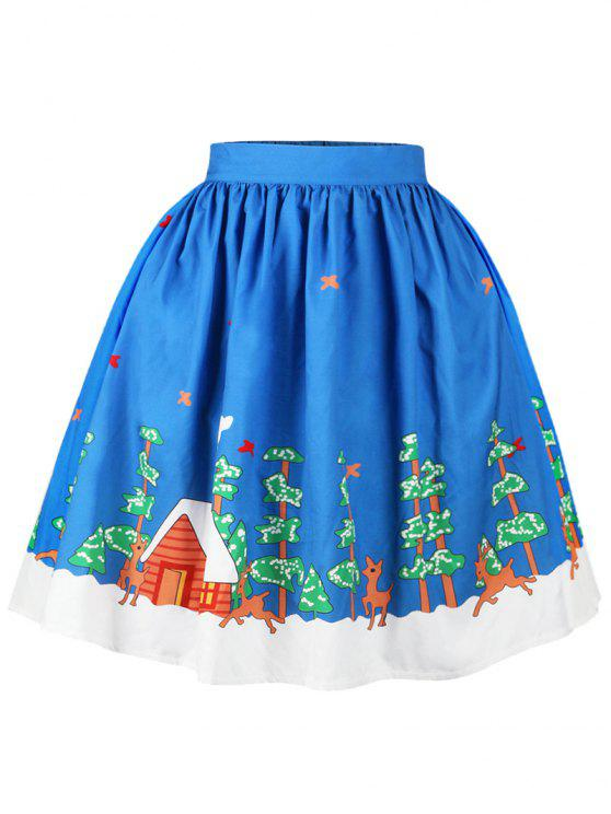 lady Christmas Butterfly Elk Tree Print Skirt - BLUE L
