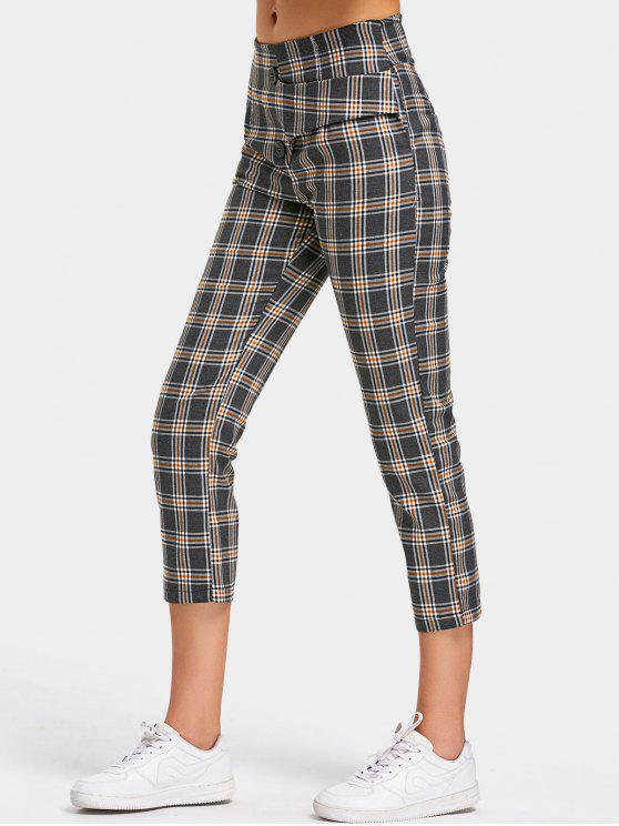 chic Back Faux Pocket Checked Capri Pants - CHECKED L