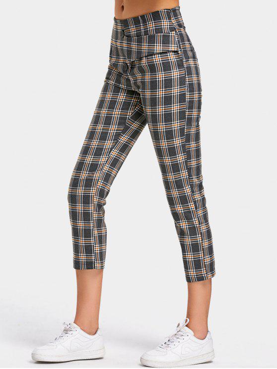Pantalon Capri à Carreaux avec Fausses Poches en Arrière - Carré S