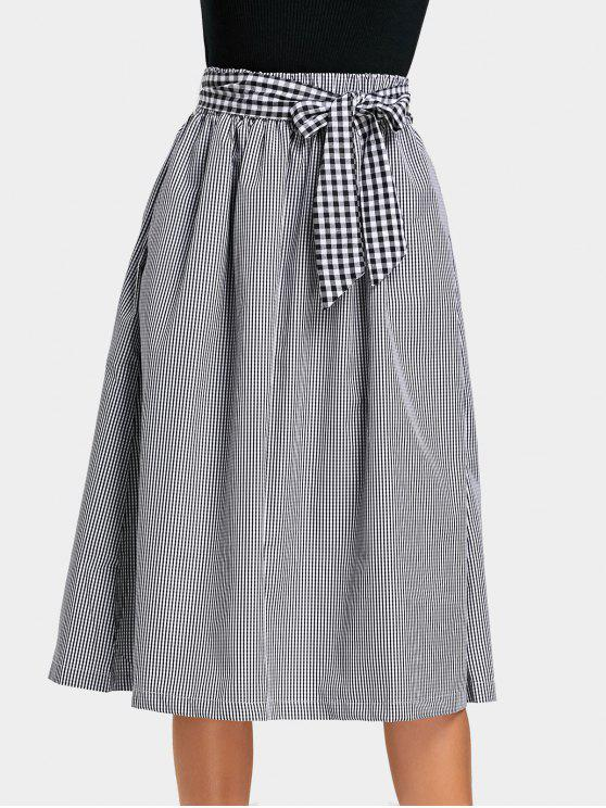 chic Self Tie Bowknot Checked Skirt with Pockets - CHECKED L