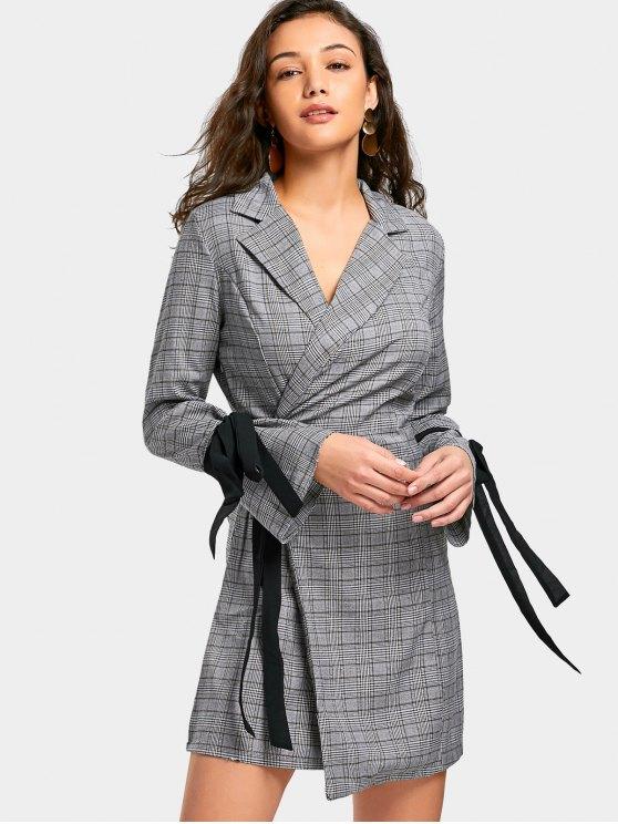 unique Self Tie Checked Mini Blazer Dress - CHECKED M
