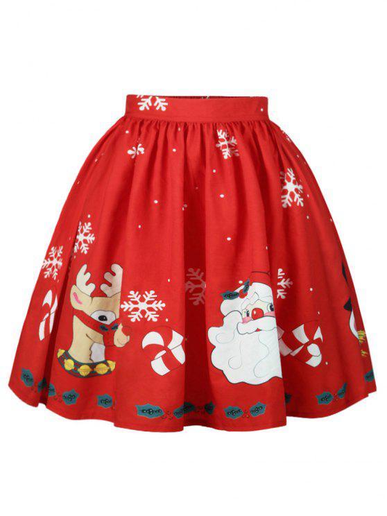 Jupe Imprimé Élan Père Noël et Flocon de Neige - Rouge S