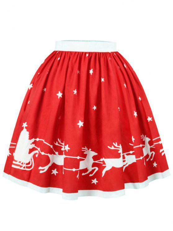 Jupe Imprimé Père Noël Élans et Étoile - Rouge S