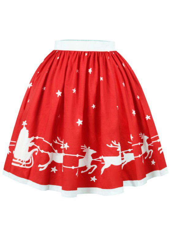 unique Christmas Elk Star Print A Line Skirt - RED M