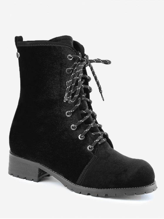 b430088c0df3 38% OFF  2019 Rivets Low Heel Lace Up Boots In BLACK