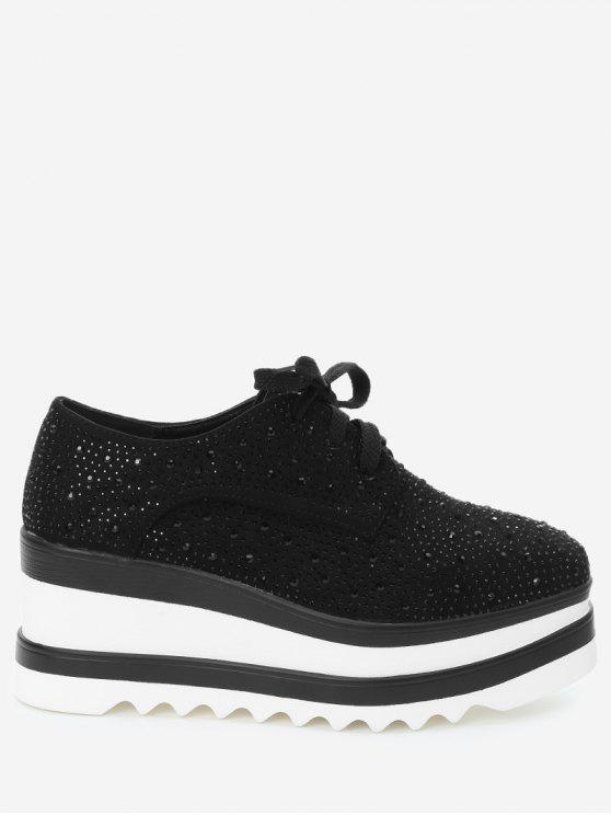 Rhinestone Square Toe Wedge Zapatos - Negro 36
