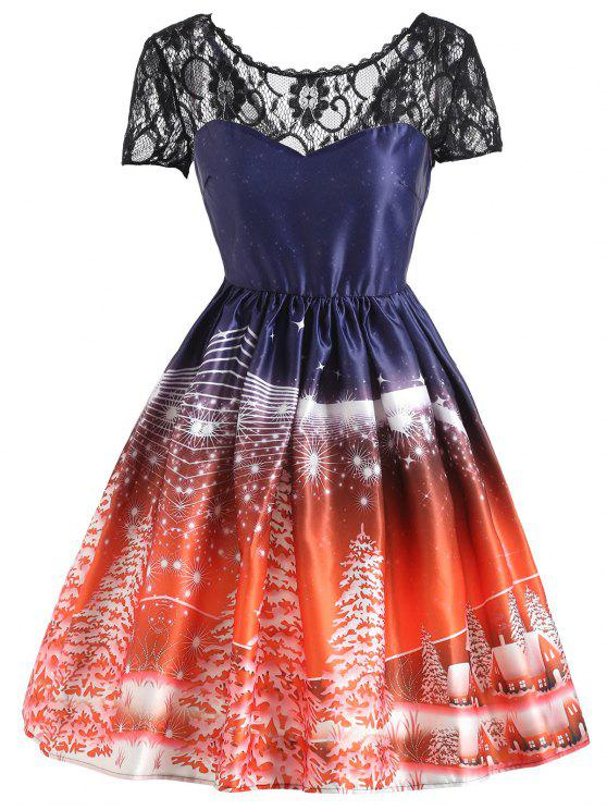 chic Christmas Tree Lace Panel Vintage Dress - JACINTH S