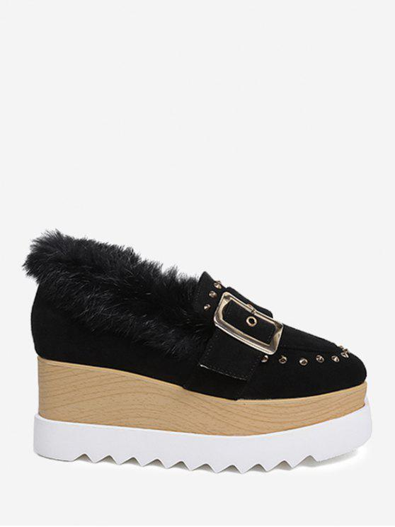 Faux Fur Ankle Studs Platform Shoes - Preto 37