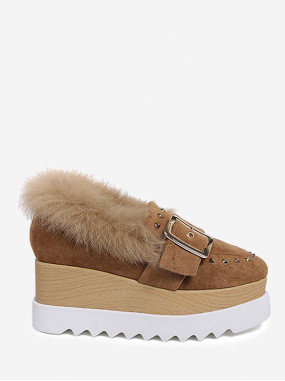حذاء بنعل سميك مرصع ومزين بالفرو المزيف حول الكاحل - BROWN 39