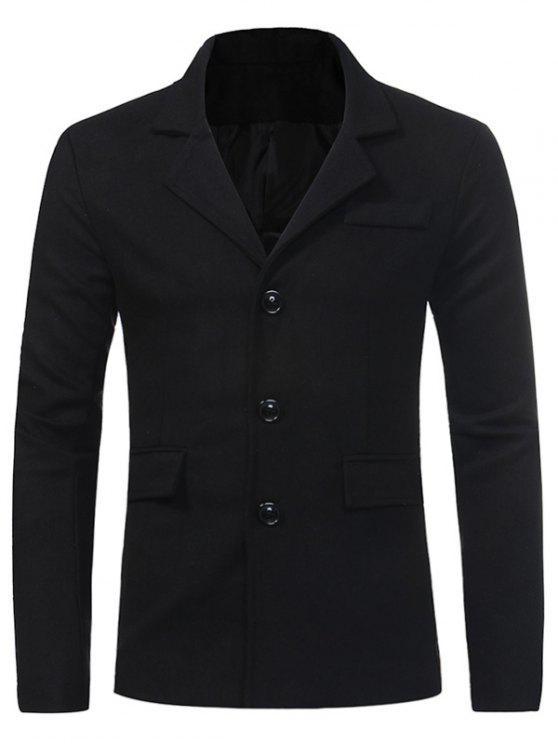 fashion Turndown Collar Single Breasted Pocket Woolen Coat - BLACK 3XL