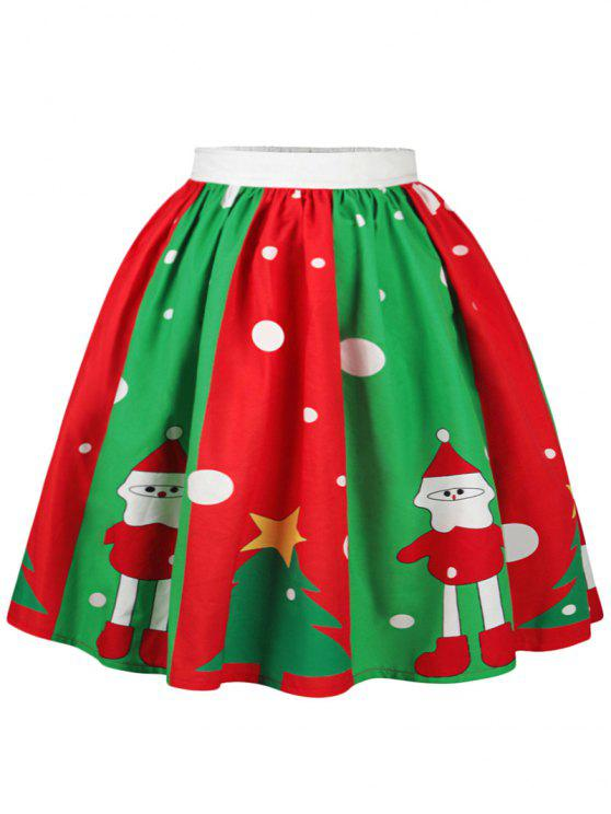 Falda con estampado de lunares en el árbol de Navidad con muñeco de nieve - Colores Mezclados XL
