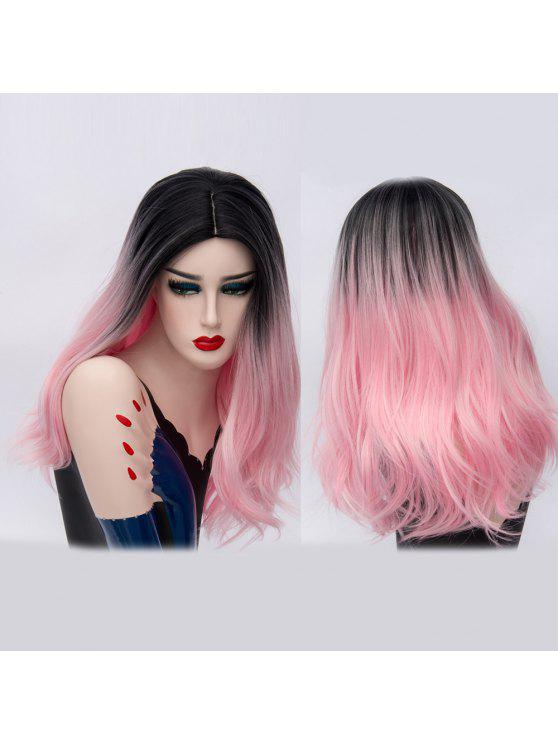 Longa parte média Ombre natural Straight Synthetic Party Wig - Rosa