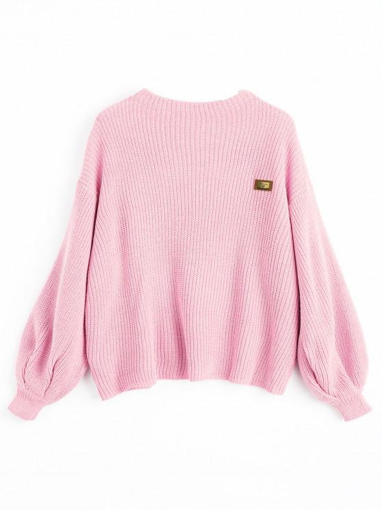 outfit ZAFUL Oversized Badge Patched Pullover Sweater - PINK ONE SIZE