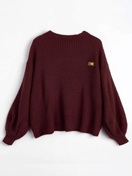 new ZAFUL Oversized Badge Patched Pullover Sweater - DARK RED ONE SIZE