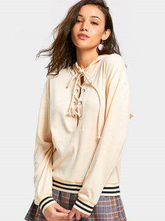 Lace Up Drop Shoulder Striped Hoodie - Apricot S