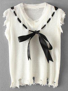 Destroyed Frayed Bow Tied Vest Sweater - White