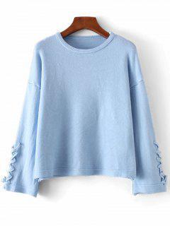 De Manga Larga Encaje Suéter Jersey - Azul Claro