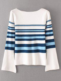 Stripes Flare Sleeve Pullover Sweater - Blanc