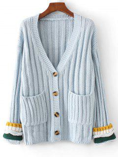 V Neck Contrasting Button Up Cardigan - Light Blue