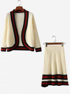Contrasting Open Front Cardigan And Ribbed Knitted Skirt - White