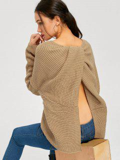 Back Slit Twist Asymmetrical Pullover Sweater - Khaki