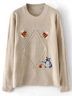 Sheer Cute Embroidered Pullover Sweater - Apricot