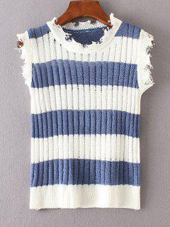 Ausgefranster Streifen Weste Pullover - Blau