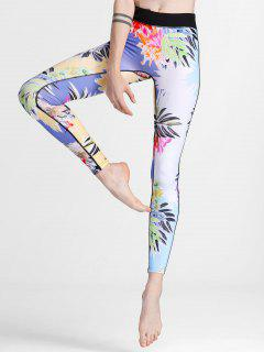 Flower Print Yoga Leggings - Floral S