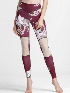 Flower Print Textured Yoga Leggings - Purplish Red L