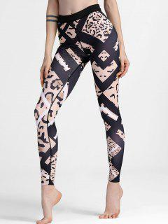 Patterned Slimm Fit Yoga Leggings - Black Xl