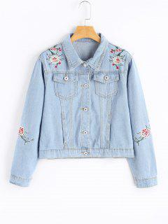 Light Wash Embroidered Denim Jacket - Light Blue M