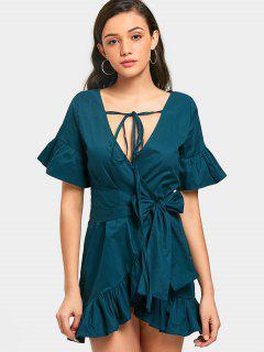 Ruffles Wrap Asymmetrical Mini Dress - Blackish Green S