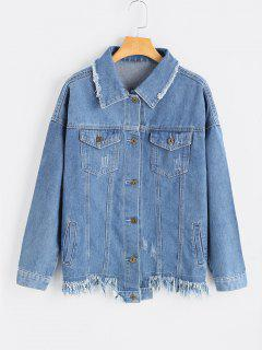 Patch Design Frayed Hem Denim Jacket - Denim Blue S
