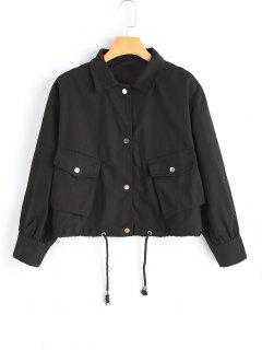 Button Up Drawstring Hem Jacket - Black S