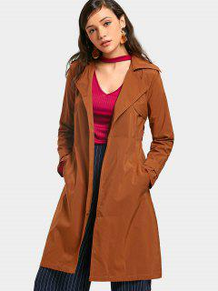 Buttoned Tabs Belted Skirted Trench Coat - Brown S